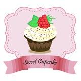 Ontwerp Vectorkader met cake met frambozen EPS 10 vectorillustratie Royalty-vrije Stock Fotografie