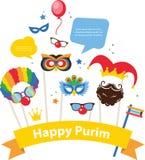 Ontwerp voor Joodse vakantie Purim met maskers en Stock Afbeelding