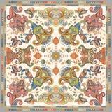 Ontwerp voor sjaal, kaart, textiel Kleurrijke illustratie met decoratief vogels en Paisley Indische beweging veroorzakend De stij vector illustratie
