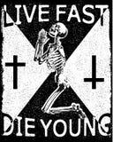 Ontwerp voor t-shirtdruk met schedel en texturen Vector illustr stock illustratie