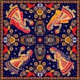 Ontwerp voor vierkante zak, sjaal, textiel stock illustratie