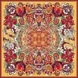 Ontwerp voor vierkante zak, sjaal, textiel, sjaal, hoofdkussen Kleurrijke hand die bloemenpatroon trekken stock illustratie