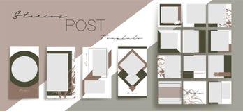 Ontwerpachtergronden voor sociale media banner Reeks instagramverhalen en postkadermalplaatjes Vectordekking stock illustratie