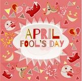 Ontwerpbanner met april-het embleem van de dwaas` s dag Royalty-vrije Stock Afbeelding