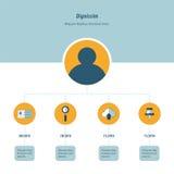 Ontwerpchronologie blauw en gele Infographic Stock Foto