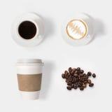 Ontwerpconcept de reeks van de modelkoffie op witte achtergrond wordt geïsoleerd die royalty-vrije stock foto