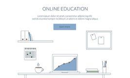 Ontwerpconcept voor het bestuderen, het leren, afstand en online onderwijs Werkruimte, werkplaats De vlakke dunne banner van het  Stock Foto