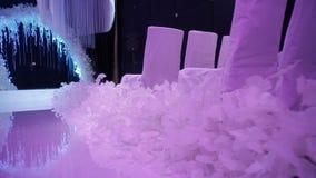 Ontwerpdecoratie van de huwelijkszaal stock videobeelden