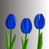 Ontwerpelementen - reeks blauwe 3D tulpenbloemen Stock Afbeelding
