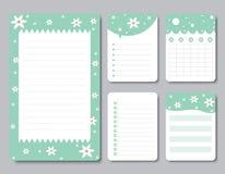 Ontwerpelementen voor notitieboekje, agenda, stickers en ander malplaatje vector, Illustratie Stock Afbeeldingen