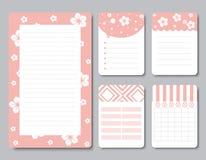 Ontwerpelementen voor notitieboekje, agenda, stickers en ander malplaatje vector, Illustratie Stock Foto's
