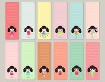 Ontwerpelementen voor notitieboekje, agenda, stickers en ander malplaatje vector, Illustratie Stock Fotografie