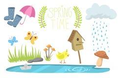 Ontwerpen de de lente natuurlijke bloemensymbolen met bloesem het tuinieren hulpmiddelenschoonheid en van de het seizoentak van h stock illustratie