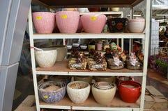 Ontwerper Ceramic Garden Pots Stock Foto's