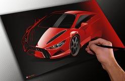 Ontwerper die een auto trekt Royalty-vrije Stock Afbeelding