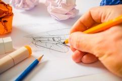 Ontwerper Drawing Stock Foto's