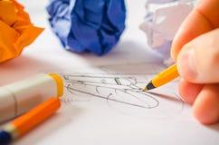 Ontwerper Drawing Stock Afbeeldingen