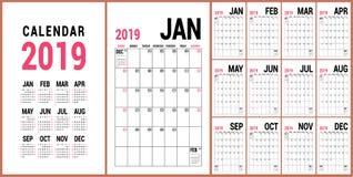 Ontwerper 2019 Engels kalendermalplaatje Vectorkalendernet O stock illustratie