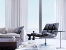 Ontwerper zwarte stoel door het venster in een modern binnenland Diepte van Gebiedseffect vector illustratie