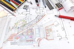 Ontwerperswerkplaats met gekleurde hand geschilderde schets van het leven r royalty-vrije stock afbeelding