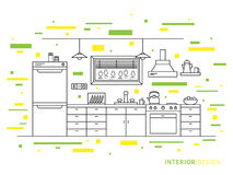 Ontwerpillustratie van de moderne binnenlandse ruimte van de ontwerperkeuken vector illustratie
