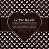 Ontwerpkaart of naadloos patroon met zilveren harten en tekstkader Royalty-vrije Stock Afbeelding
