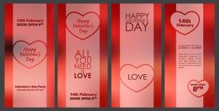 Ontwerpkaarten voor de Dag van Valentine Stock Foto's