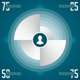 Ontwerpmalplaatje het bedrijfs van Infographics Het winkelen markeringen en pictogrammen De minimale Illustratie van het Cirkeldi Stock Foto
