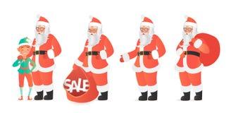Ontwerpmalplaatje met de Vectorillustratie van Santa Claus en van het elf De stijl van het beeldverhaal Royalty-vrije Stock Afbeelding