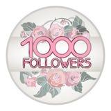 Ontwerpmalplaatje voor aanhangers kaart 1000 op bloemenachtergrond Stock Fotografie