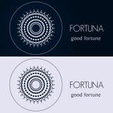 Ontwerpmalplaatjes in blauwe en grijze kleuren Creatief mandalaembleem, pictogram, embleem, symbool Stock Foto
