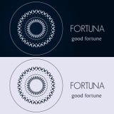Ontwerpmalplaatjes in blauwe en grijze kleuren Creatief mandalaembleem, pictogram, embleem, symbool Stock Afbeelding