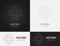 Ontwerpmalplaatjes in zwarte, grijze en gouden kleuren Creatief mandalaembleem, pictogram, embleem, symbool Stock Foto
