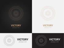 Ontwerpmalplaatjes in zwarte, grijze en gouden kleuren Creatief mandalaembleem, pictogram, embleem, symbool Stock Afbeeldingen