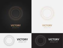 Ontwerpmalplaatjes in zwarte, grijze en gouden kleuren Creatief mandalaembleem, pictogram, embleem, symbool Royalty-vrije Stock Foto