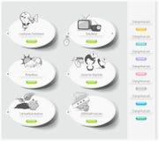 Ontwerppictogrammen met stickers worden geplaatst die Royalty-vrije Stock Foto