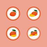 Ontwerpstickers met Rijpe Yummy Mango Stock Afbeeldingen