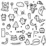 Ontwerpt de hand getrokken leuke de elementen vectorillustratie van de krabbelsinzameling van dier, boom, pijl, voorwerpen voor d stock afbeelding