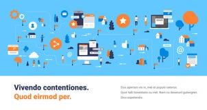 Ontwikkel van het het schermpraatje van de kaart mobiel computer van de de interface online boodschapper communicatie van het con stock illustratie