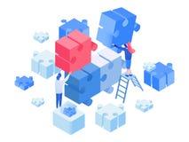 Ontwikkelaars die, team die isometrische illustratie werken coworking royalty-vrije illustratie