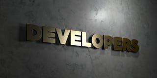 Ontwikkelaars - Gouden tekst op zwarte achtergrond - 3D teruggegeven royalty vrij voorraadbeeld royalty-vrije illustratie