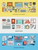 Ontwikkeling, ontwerp en inhouds het uitgeven bannerreeks Stock Foto