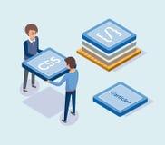 Ontwikkeling van Websites, Ontwikkelaars met Blokken royalty-vrije illustratie