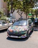 Ontworpen Peugeot 205 bij een tentoonstelling van oude auto's in de Karmiel-stad royalty-vrije stock fotografie
