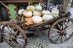 Ontworpen voor het verfraaien, grote pompoenen op een oude auto Stock Afbeeldingen