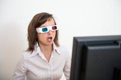 Ontzag - bedrijfspersoon met 3d glazen Stock Foto