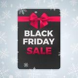 Ontzagwekkend brochure en vliegerontwerp voor vrolijke Kerstmis en zwarte vrijdagverkoop Vectorillustratie met realistische boog Royalty-vrije Stock Fotografie