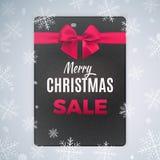 Ontzagwekkend brochure en vliegerontwerp voor vrolijke Kerstmis en zwarte vrijdagverkoop Vectorillustratie met realistische boog Stock Foto