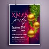 Ontzagwekkend van de de vliegeraffiche van de Kerstmispartij het ontwerpmalplaatje Stock Foto's