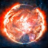 Ontzagwekkende achtergrond - planeten in ruimte, nevels en sterren royalty-vrije stock foto